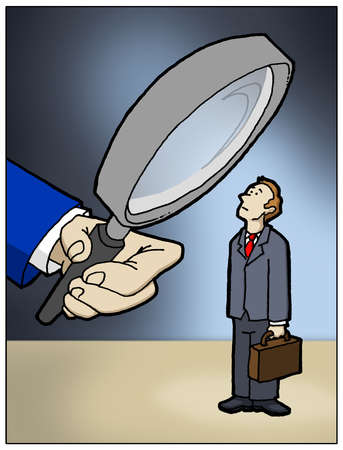 Large hand with Magnifying glass looking at a businessman.