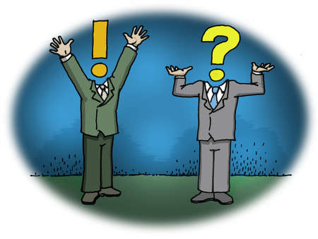 Man with exclamation point for head talking with man with question mark for head.