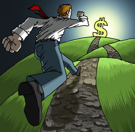 Man climbing up a hill toward a dollar sign.