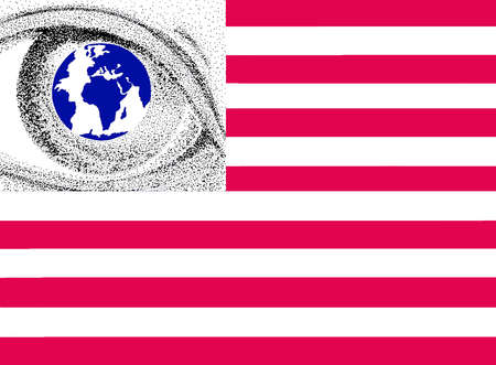 American flag with eye relecting the globe in place of stars