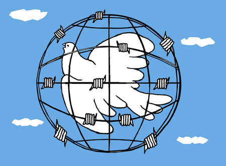 Dove trapped in barbed wire in the shape of the earth.