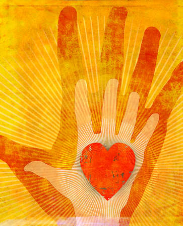 Radiant hands holding heart