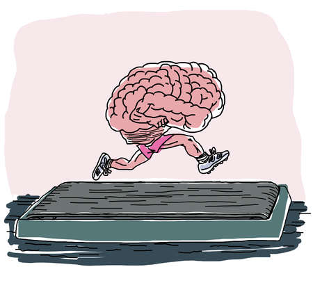 Human brain running on a treadmill.