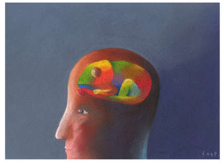 Man's profile with chameleon as his brain.