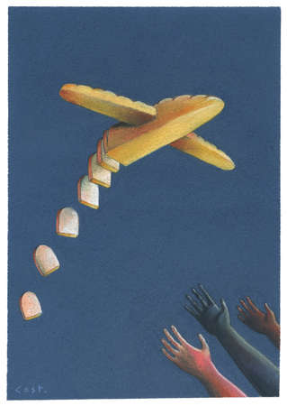 Hands reaching out to plane made out of sliced bread.