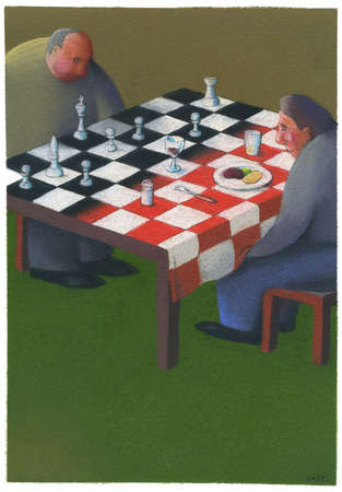 Two men playing chess with food.