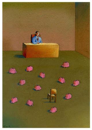 Man at desk looking at group of piggy banks.