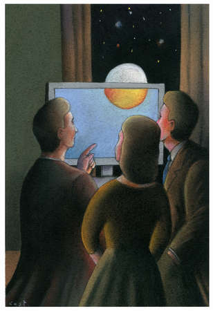 Three people looking at the night sky through a computer screen.