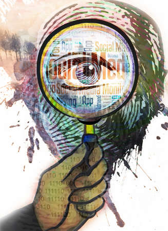 Montage of fingerprint,eye and magnifying glass.
