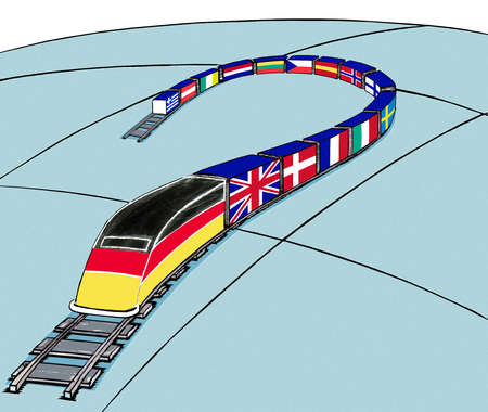 High speed train with international flags