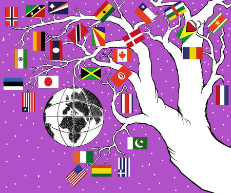 Tree with globe and flags from various countries,