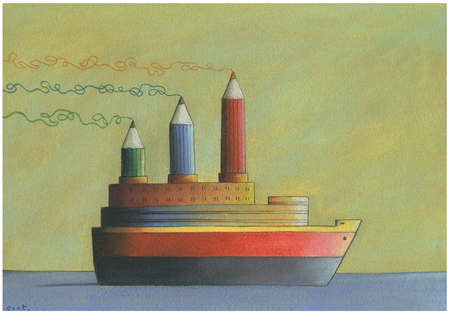 Ship with pencils as smokestacks