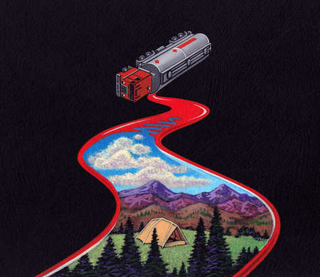Oil tanker spill covering a pastoral scene