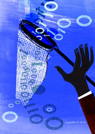 Hand trying to catch binary code with a torn net