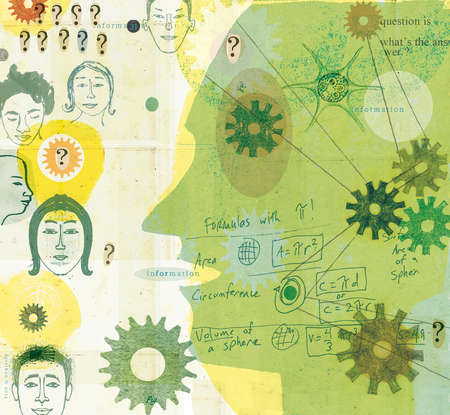 Montage of teacher, students, gears and mathematical formulas