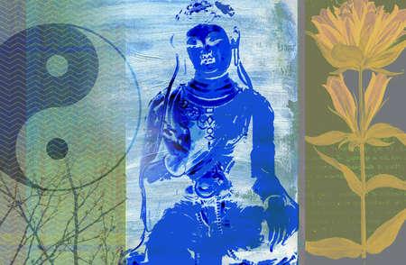 Montage of yin-yang symbol, Indian goddess and lotus