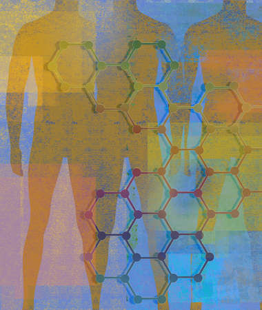 Silhouette of human bodies with honeycomb pattern.