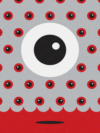 Huge eye amid smaller eyes.