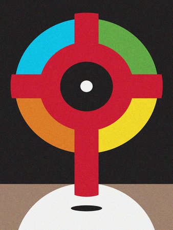 Cross with a multicolored halo.