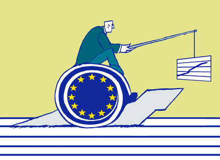 Man riding a snail with a european union flag with a lure of a growth chart.