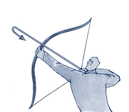 Man shooting arrow that is bent toward himself