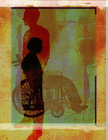 Silhouette of caregiver and person in a wheelchair.