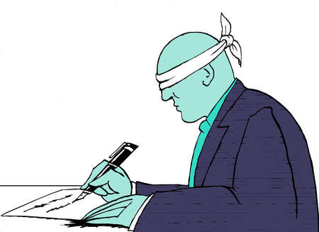 Blindfolded person trying to write