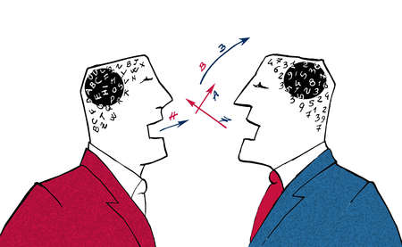 Two men with numbers in their heads talking to each other