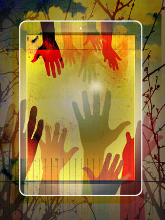 Silhouetted hands covering tablet device
