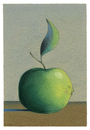 A green apple with a child's profile