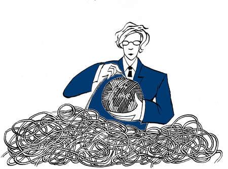 Woman executive untangling a ball of yarn
