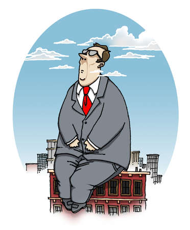 A businessman sitting on top of a building with his head in the clouds.