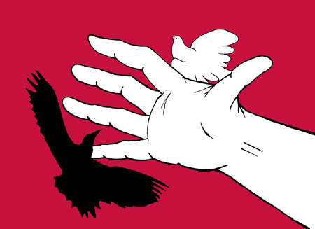 Hand separating a hawk from a dove