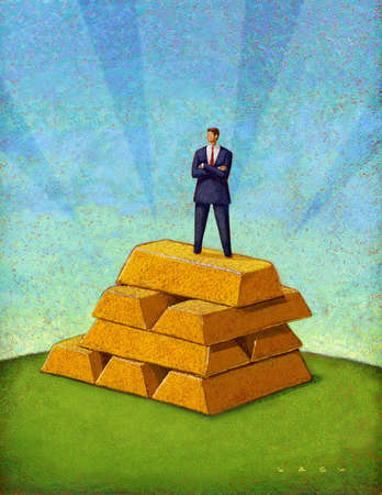 Businessman standing atop of pyramid of gold bars