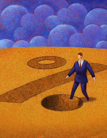 Businessman stepping into hole that looks like a percentage sign