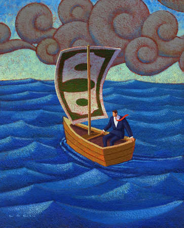 Businessman in a boat with a dollar bill as a sail, under a dark cloud