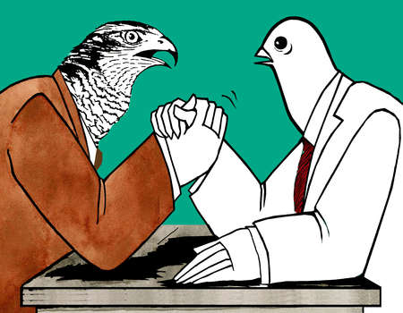 Hawk and Dove arm wrestling