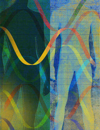 Montage of human figures,dna and waves