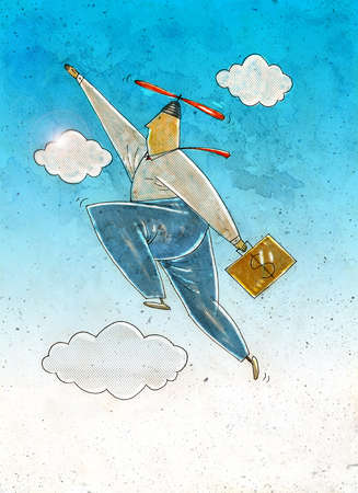 Businessman flying with a propeller beanie