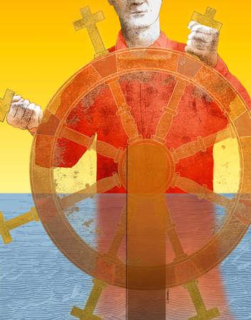 Man steering wheel with crosses as spokes