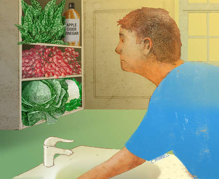 Man looking in medicine cabinet and finding vegetables