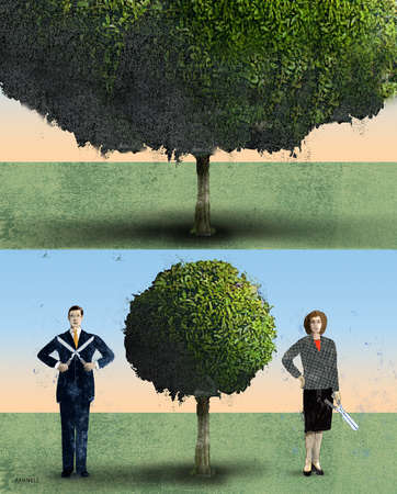 Businessman and businesswoman with scissors trimming a tree