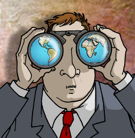Man looking at the continents through binoculars