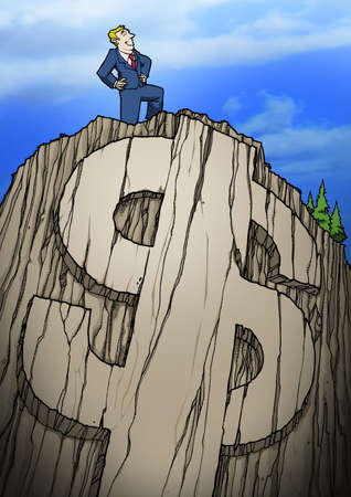Man standing atop a mounting with a dollar sign