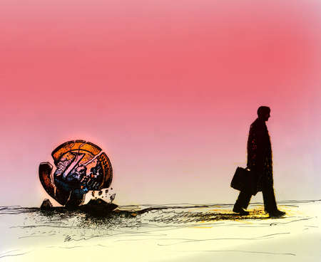 Businessman walking away from a crushed Euro