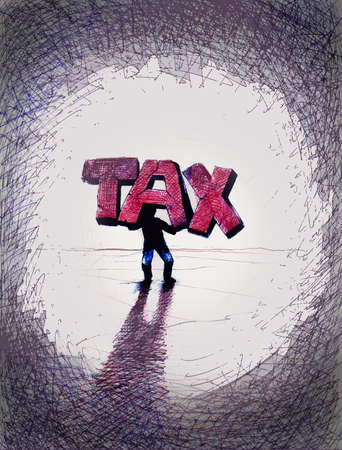 Person carrying large letters that spell TAX
