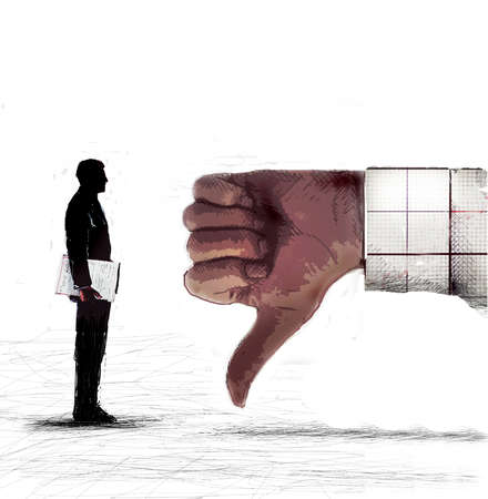 Executive facing a giant thumbs-down sign