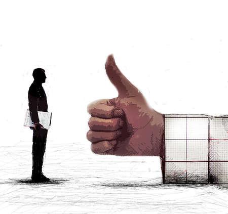 Executive facing a giant thumbs-up sign