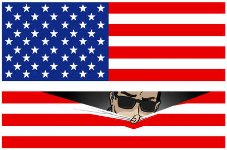 Man with sunglasses peering out of American Flag
