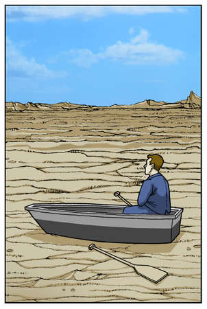 Man in rowboat in the desert.